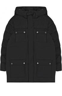 Пуховая куртка с отделкой из шерсти и капюшоном Armani Junior