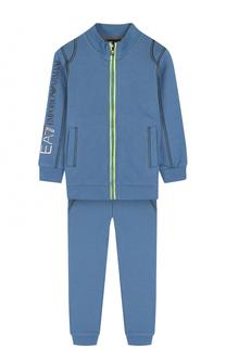 Спортивный костюм с контрастной прострочкой и логотипом бренда Ea 7