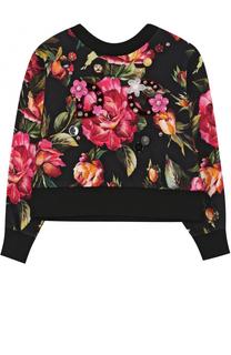Хлопковый свитшот с принтом и декором Dolce & Gabbana