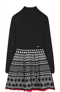 Приталенное платье с принтом и контрастной отделкой Dsquared2