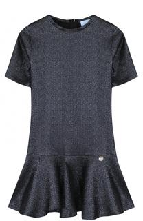 Мини-платье с оборкой и металлизированной отделкой Lanvin