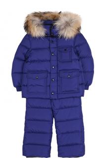 Пуховый комплект из комбинезона на подтяжках и куртки с капюшоном Moncler Enfant