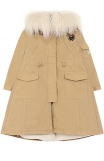 Утепленное пальто из денима с фактурной отделкой капюшона Ermanno Scervino