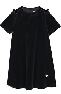 Бархатное платье свободного кроя с бантами Lanvin