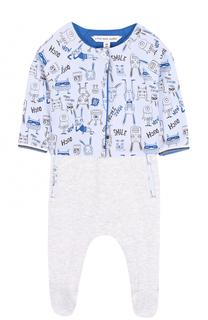 Хлопковый комплект из комбинезона и кардигана Marc Jacobs