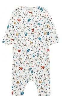 Хлопковая пижама с принтом Gucci