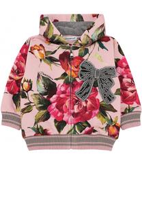 Хлопковый кардиган с принтом и капюшоном Dolce & Gabbana