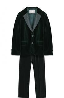 Бархатный костюм с пиджаком на двух пуговицах Il Gufo