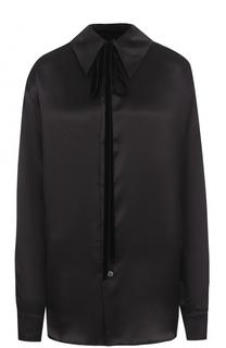 Однотонная шелковая блуза свободного кроя Ann Demeulemeester