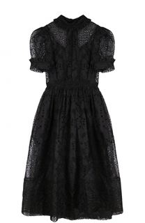 Приталенное бархатное платье с рукавом-фонарик Simone Rocha