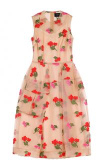 Приталенное прозрачное платье-миди с цветочной вышивкой Simone Rocha