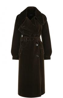 Однотонное бархатное пальто с поясом Simone Rocha
