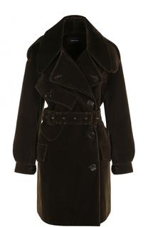 Укороченные бархатное пальто с поясом Simone Rocha