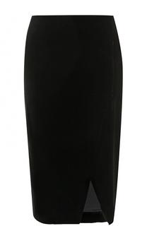 Бархатная юбка-миди с разрезом Giorgio Armani