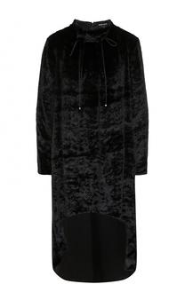 Бархатная блуза с удлиненной спинкой и воротником-стойкой Giorgio Armani