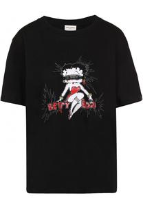 Хлопковая футболка прямого кроя с контрастной отделкой Saint Laurent