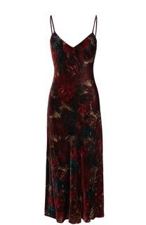 Бархатное платье-комбинация с принтом Polo Ralph Lauren