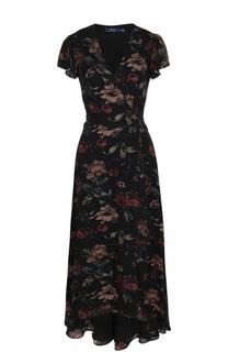 Шелковое платье-миди с запахом и принтом Polo Ralph Lauren