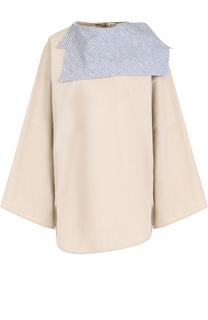 Хлопковая блуза свободного кроя с контрастным воротником Acne Studios