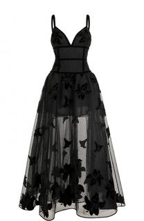 Приталенное платье-макси с полупрозрачной юбкой Elie Saab