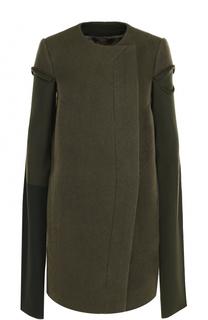 Шерстяное пальто с круглым вырезом Rick Owens