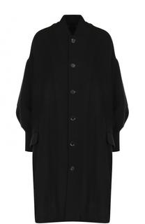 Однотонное пальто свободного кроя с манжетами Yohji Yamamoto