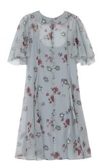 Приталенное шелковое платье с цветочным принтом Valentino