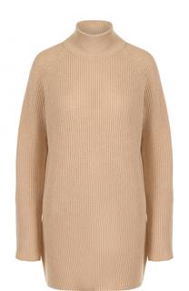 Удлиненный шерстяной свитер фактурной вязки BOSS