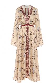 Шелковое платье-миди с принтом и V-образным вырезом Forte_forte
