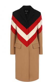 Шерстяное пальто прямого кроя с принтом MSGM