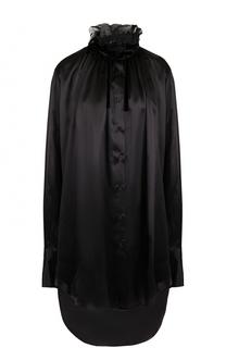 Удлиненная шелковая блуза с воротником-стойкой Ann Demeulemeester