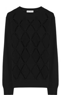Шерстяной пуловер с круглым вырезом и перфорацией Paco Rabanne