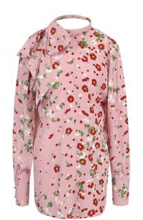 Шелковая блуза с открытой спиной и воротником аскот Valentino