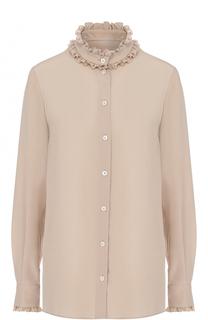 Шелковая блуза с воротником-стойкой и оборками Dolce & Gabbana