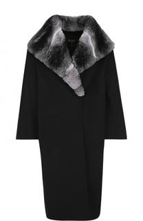 Шерстяное пальто с отделкой из меха шиншиллы St. John