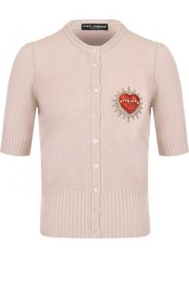 Шерстяной кардиган с коротким рукавом и круглым вырезом Dolce & Gabbana