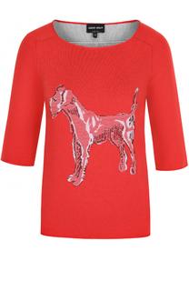 Кашемировый пуловер с принтом и укороченным рукавом Giorgio Armani