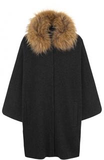 Шерстяное пальто свободного кроя с отделкой из меха енота D.Exterior