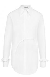 Хлопковая блуза прямого кроя с кружевной вставкой Nina Ricci