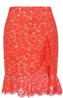 Кружевная юбка-миди с оборкой Roberto Cavalli