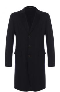 Однобортное кашемировое пальто с отложным воротником Giorgio Armani