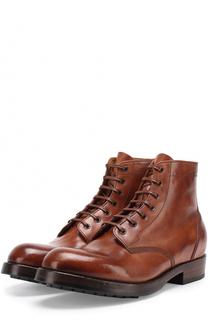 Кожаные ботинки на шнуровке с круглым мысом Officine Creative
