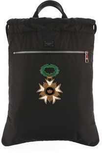 Текстильный рюкзак с кожаной отделкой и аппликацией Dolce & Gabbana