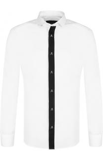 Хлопковая рубашка с контрастной отделкой Philipp Plein