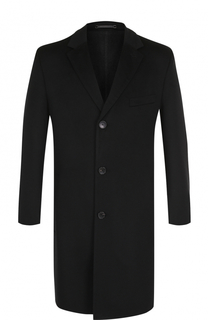 Однобортное шерстяное пальто с отложным воротником BOSS