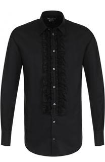 Сорочка из смеси хлопка и шелка с отделкой Dolce & Gabbana