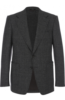 Однобортный пиджак в клетку из смеси шерсти и кашемира Tom Ford