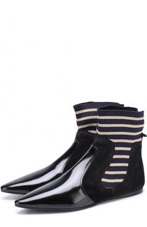 Кожаные ботинки с вязаной вставкой Acne Studios