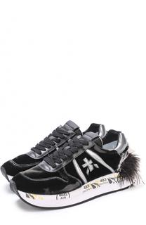 Бархатные кроссовки Holly с отделкой из перьев Premiata