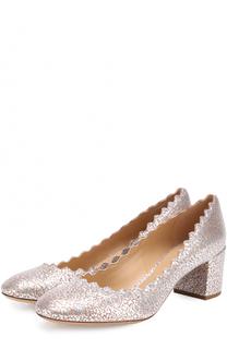 Туфли Lauren из металлизированной кожи Chloé
